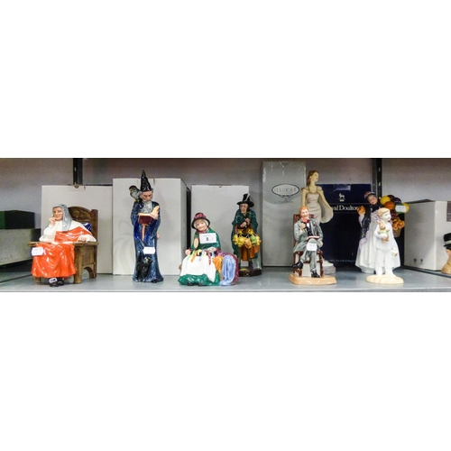 8 - EIGHT MODERN ROYAL DOULTON FIGURES, RESPECTIVELY 'JUDGE', 'BIDDY PENNY FARTHING', 'THE MASK SELLER',...