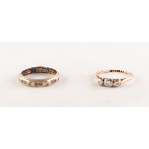 50 - 9ct GOLD RING, with three tiny diamonds in a platinum deceptive setting, 1.5gms, ring size 'L' and a...