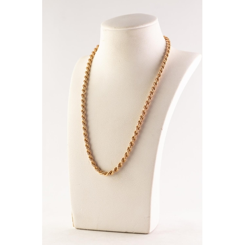 51 - 9ct GOLD ROPE CHAIN NECKLACE, 16