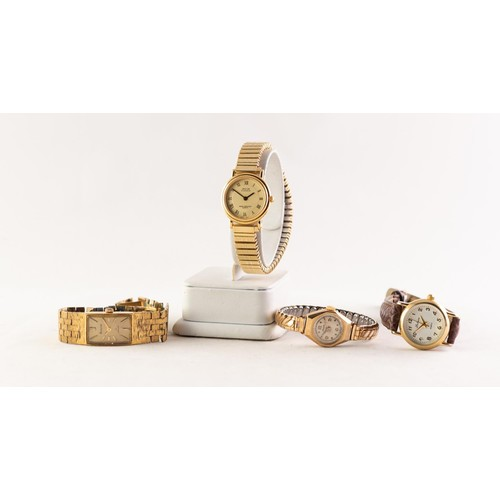 18 - A 9ct GOLD CASED ARISTO LADY'S WRIST WATCH, on gilt metal expanding bracelet, and THREE OTHER ACCURI...