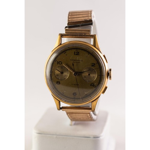 1 - 'CHRONOGRAPHE SUISSE' GENT'S GOLD PLATED VINTAGE WRISTWATCH, the movement with 17 rubies, the champa...