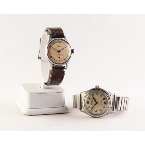 6 - GENT'S AVIA SWISS VINTAGE WRISTWATCH with mechanical movement, Arabic circular champagne dial with s...