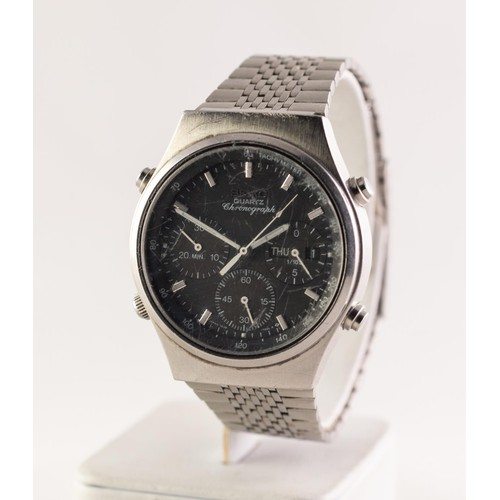 8 - GENT'S SEIKO QUARTZ CHRONOGRAPH STAINLESS STEEL WRISTWATCH no 773362, with circular black dial with ...