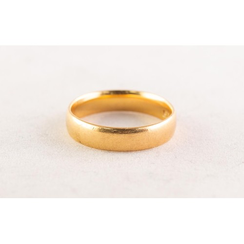 56 - 22ct GOLD BROAD WEDDING RING, Birmingham 1922, 4.8gms, ring size M/N...