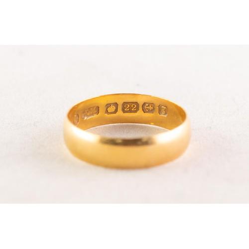 56A - EDWARDIAN 22ct GOLD BROAD WEDDING RING, Birmingham 1906, 2.5gms, ring size L/M