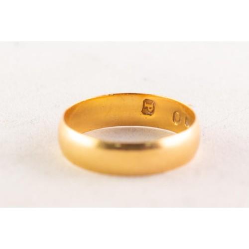 56A - EDWARDIAN 22ct GOLD BROAD WEDDING RING, Birmingham 1906, 2.5gms, ring size L/M...