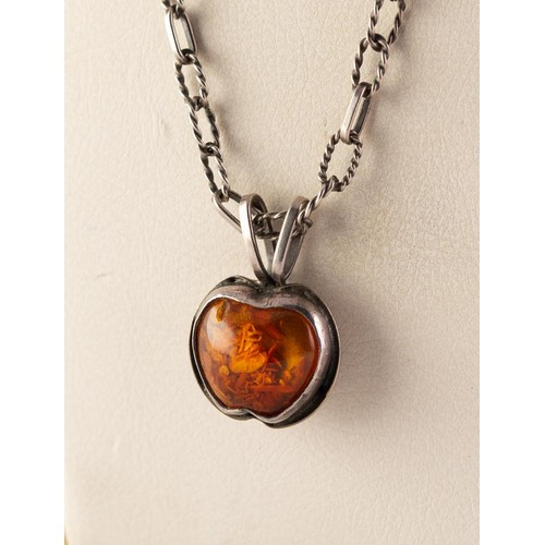 58 - ORNO, WARSAW, CRAFT SILVER AND AMBER PENDANT ON AN ORNO SILVER CHAIN NECKLACE with rope pattern and ...