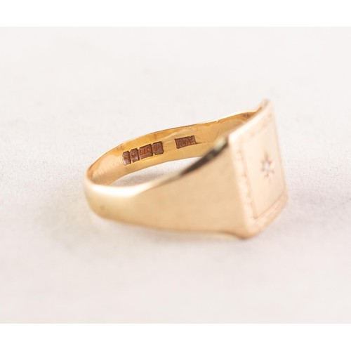 59 - 9ct GOLD SIGNET RING, the square top having engraved banded border and tiny star set diamond to the ...