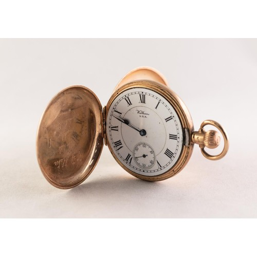 33 - WALTHAM 'RIVERSIDE' 9ct GOLD HUNTING CASED POCKET WATCH with 19 jewelled keyless movement No 2460625...