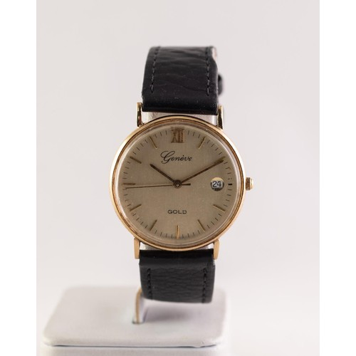 35 - GENT'S GENEVE GOLD QUARTZ 9ct GOLD CASED WRISTWATCH, with circular champagne dial with Roman twelve ...