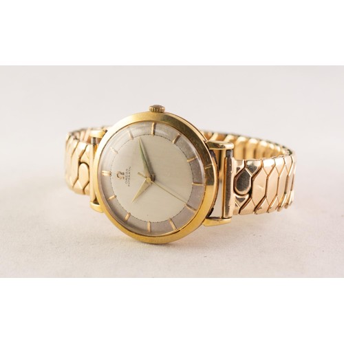 37 - GENT'S OMEGA AUTOMATIC 18ct GOLD CASED WRISTWATCH with circular silvered dial, the grey chapter ring...
