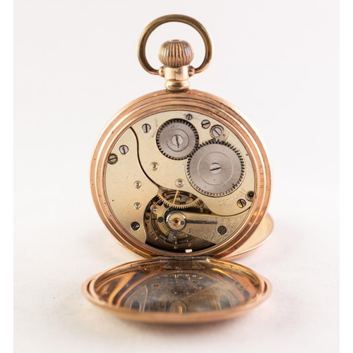 12 - MORATH BROTHERS, LIVERPOOL, ROLLED GOLD FULL HUNTER POCKET WATCH with keyless Swiss movement, white ...