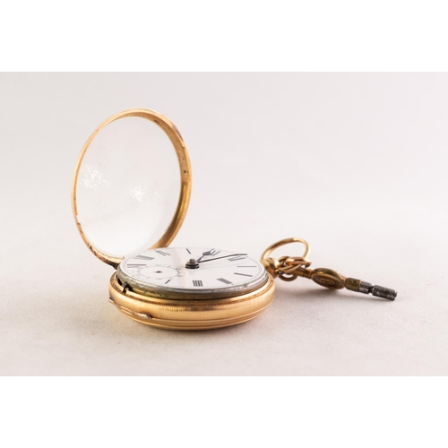 9 - J. RIGBY & SON, VICTORIAN 18ct OPEN FACED POCKET WATCH with key wind movement, white Roman dial ...