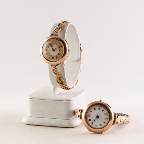 11 - TWO LADIES 9ct GOLD VINTAGE WRISTWATCHES with mechanical movements, rolled gold bracelets, London 19...