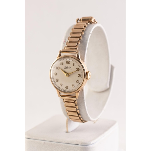 25 - BUREN GRAND PRIX LADY'S 9ct GOLD WRISTWATCH with mechanical movement, circular silvered Arabic dial,...