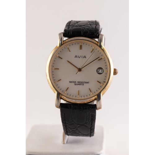 30 - AVIA GOLD PLATED WRISTWATCH with quartz movement, circular silvered dial with date aperture, centre ...