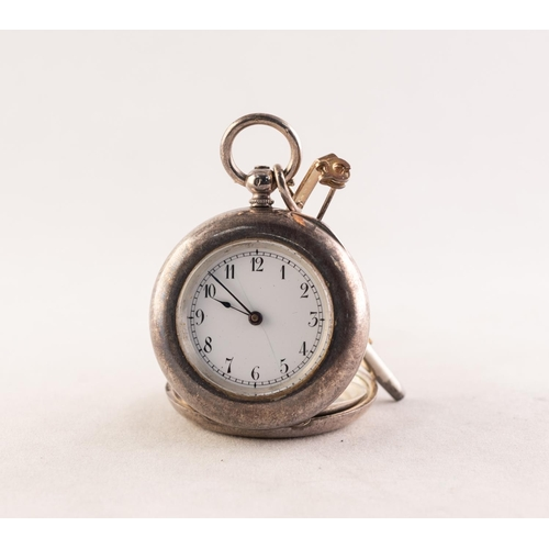 21 - LADY'S SILVER FOB WATCH WITH SWISS KEY WIND MOVEMENT, initialled to the back of the case...