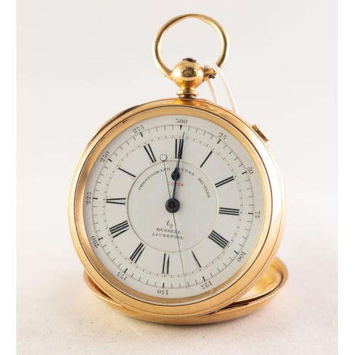 31 - THOMAS RUSSELL, LIVERPOOL, VICTORIAN 18ct FOLD CENTRE SECOND CHRONOGRAPH, No 74228/C OPEN FACED POCK...