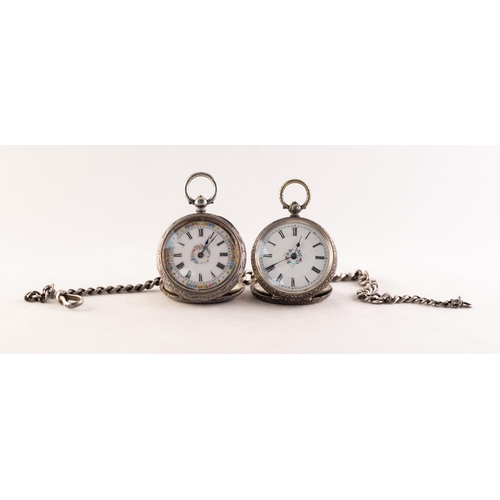 38 - LADY'S VICTORIAN FOLIATE ENGRAVED OPEN FACED POCKET WATCH with key wind movement, decorated white po...