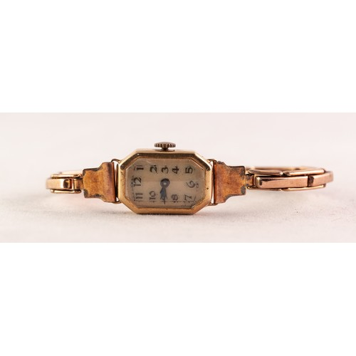 16 - LADY'S VINTAGE 18ct GOLD WRISTWATCH with mechanical movement, small and narrow oblong arabic dial wi...
