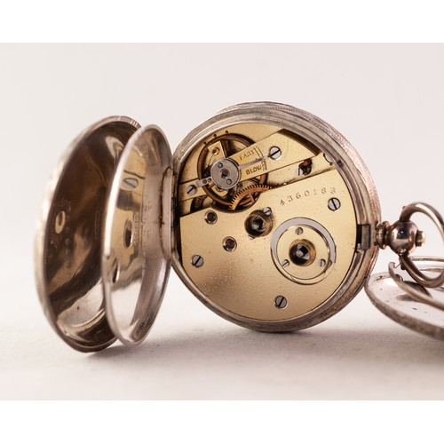39 - TWO LADY'S KEY WIND SWISS SILVER CASED FOB WATCHES, circa 1900, 0.935 purity, (2)...