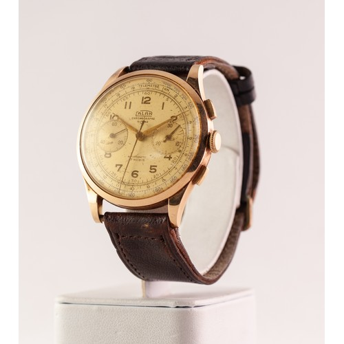 40 - GENT'S CALAN SWISS 18K GOLD CHRONOGRAPH WRISTWATCH with 17 jewels movement, gold coloured circular a...