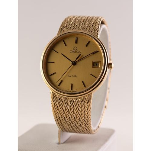 41 - OMEGA DE VILLE GOLD PLATED CASED GENTLEMAN'S BRACELET WRISTWATCH with calendar aperture and baton nu...