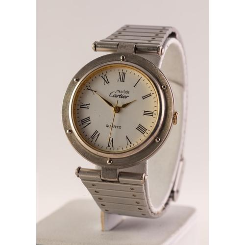 43 - MUST DE CARTIER WHITE METAL CASED LADY'S QUARTZ WRISTWATCH, on stainless steel bracelet...