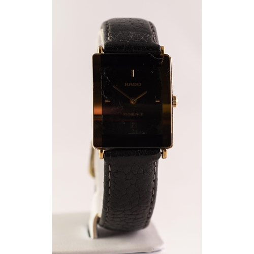 45 - GENT'S RADO 'FLORENCE' WRIST WATCH, the oblong dial with date aperture and gilt batons to the quarte...