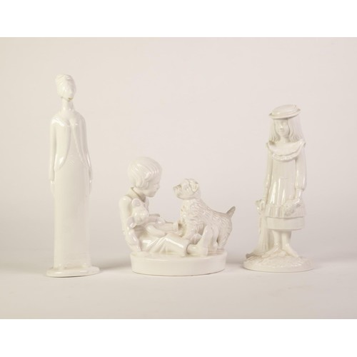 42 - SPODE, PAULINE SHONE DESIGN WHITE CHINA GROUP, Playtime, 6in (15cm) high and TWO SIMILAR FIGURES, Ch...