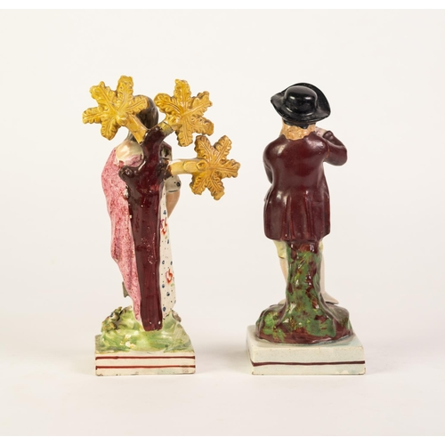 44 - PROBABLY ENOCH WOOD, NINETEENTH CENTURY POTTERY FIGURE OF HOPE, painted in colours and modelled stan...