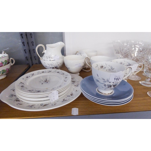 35 - A RIDGWAY BONE CHINA TEA SERVICE 'GRAYWOOD' PATTERN FOR SIX PERSONS