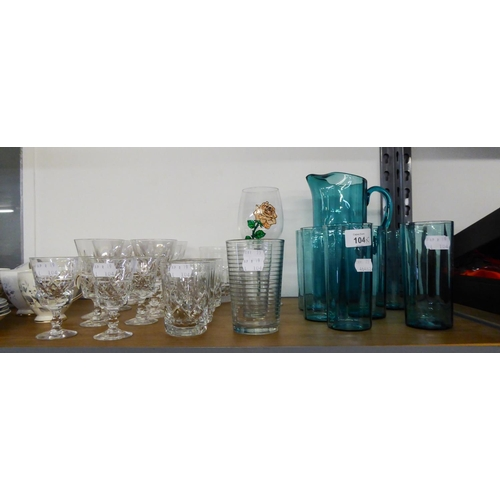 36 - A SET OF FOUR CUT GLASS TUMBLERS, SET OF SIX CUT GLASS WINE GOBLETS, A SMOKED GLASS WATER SET OF 7 ...