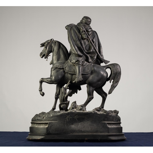 92 - VICTORIAN SPELTER EQUESTRIAN FIGURE of an arab mounted and turning in the saddle shouting through cu...