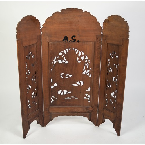 195 - CHINESE CARVED AND PIERCED HARDWOOD LARGE TRIPTYCH GRATE SCREEN, with triple arched top, the panels ...