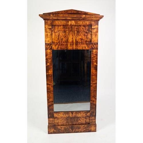 67 - 19th CENTURY, POSSIBLY BIEDERMEIER, RECTANGULAR PIER MIRROR, in figured blond wood architectural fra...