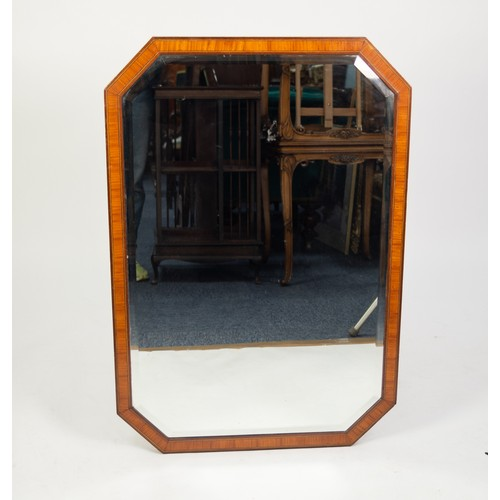 68 - GOOD QUALITY EARLY 20th CENTURY RECTANGULAR BEVEL EDGE WALL MIRROR, with canted corners, in mahogany...