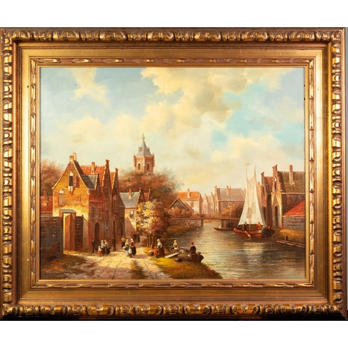 225 - H. SCHROFER (Dutch Modern) OIL PAINTING ON PANEL A pastiche canal-side village scene with numerous f...