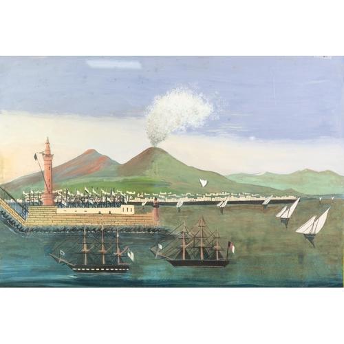 236 - NEOPOLITAN SCHOOL (19th Century) GOUACHE DRAWING Bay of Naples with erupting Vesuvius Inscribed on t...