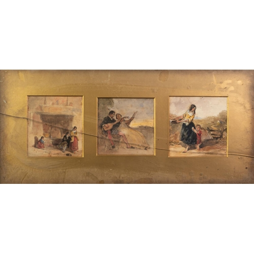 237 - BRITISH SCHOOL (19th Century) SUITE OF THREE WATERCOLOUR DRAWINGS IN A SINGLE FRAME Figure studies i...
