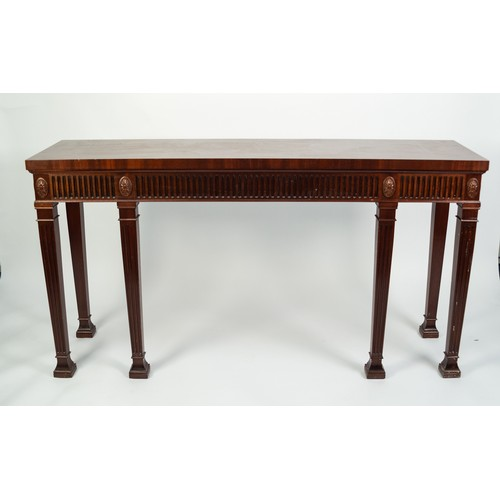 167 - REPRODUCTION ADAM REVIVAL MAHOGANY SIDE TABLE, the plain rectangular top above a fluted and paterae ...