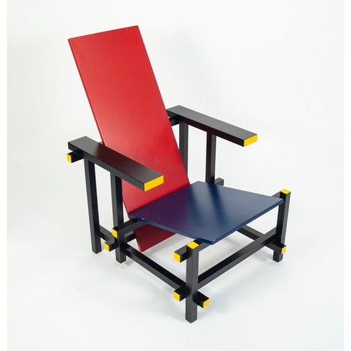 213 - AFTER GERRIT T RIETVELD, RED AND BLUE CHAIR, probably by Cassina (635), 34 3/4in (88cm) high, 24in ...