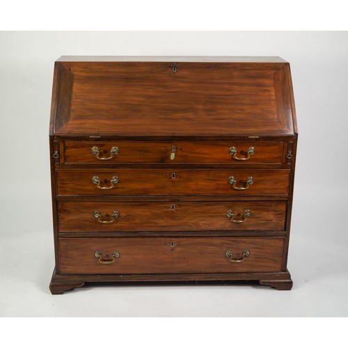 130 - LATE GEORGIAN MAHOGANY BUREAU, the fall-flap enclosing eight small drawers, central cupboard flanked...