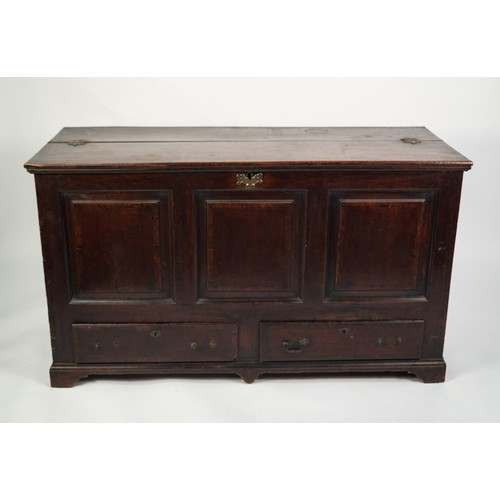 119 - GEORGE III OAK MULE CHEST, the altered and adapted half-hinged top above a crossbanded triple fielde...