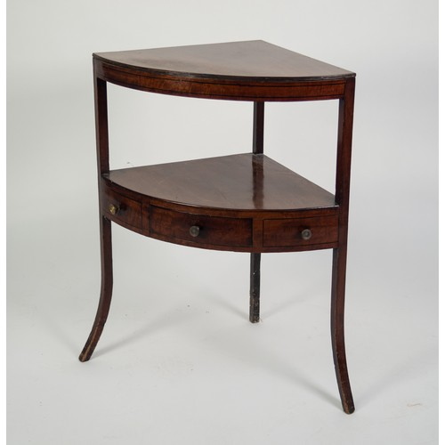 126 - LATE GEORGIAN MAHOGANY CORNER WASHSTAND inlaid and edged with ebonised stringing lines, the replaced...