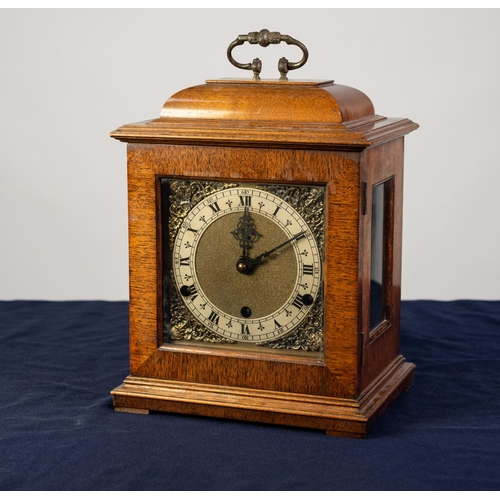 """22 - GEORGIAN STYLE MAHOGANY BRACKET CLOCK, the 5"""" brass dial with silvered chapter ring, matted centre a..."""