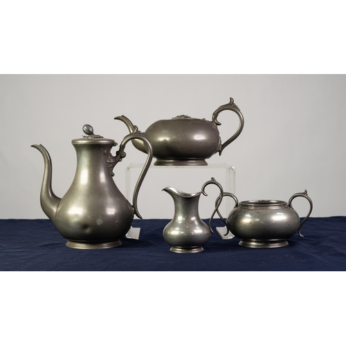 86 - VICTORIAN FOUR PIECE BRITANNIA METAL TEA AND COFFEE SET BY JAMES DIXON, circular, with scroll handle...