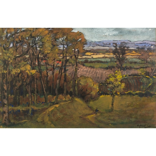 240 - A. PROST GOUACHE DRAWING Extensive rural landscape with small figure and trees in foreground Signed ...