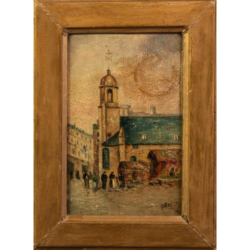 231 - F.H. CANNELL OIL PAINTING ON PANEL 'The late St Matthews Old Church, Market Place, Douglas' Monogram...