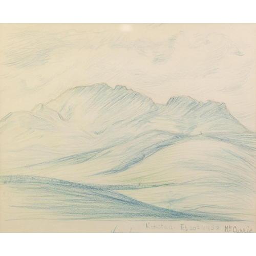 238 - NAOMI LANG CRAYON DRAWING South African landscape, 'Colesberg' Signed, titled and dated 'March 14th'...
